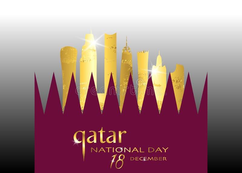 Le Qatar jour national célébration 18 décembre, bâtiment de silhouette d'or du Qatar et drapeau de ondulation, illustration de ve illustration stock