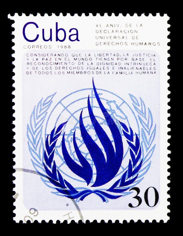 Le quarantième anniversaire de la déclaration du serie de droits de l'homme, vers 1988 images libres de droits