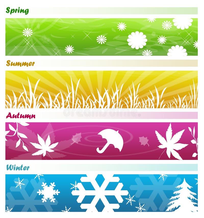 Le quattro bandiere di stagioni illustrazione vettoriale