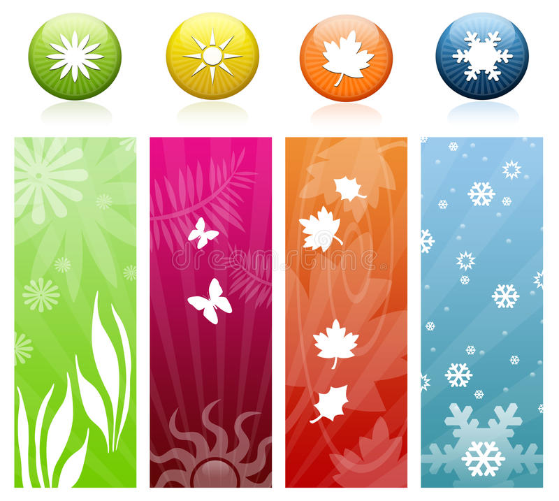 Le quattro icone & bandiere di stagioni royalty illustrazione gratis