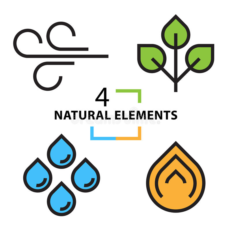 Le quattro icone naturali degli elementi messe royalty illustrazione gratis