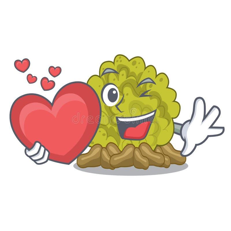 Le récif coralien vert de coeur étant isolé avec la bande dessinée illustration de vecteur