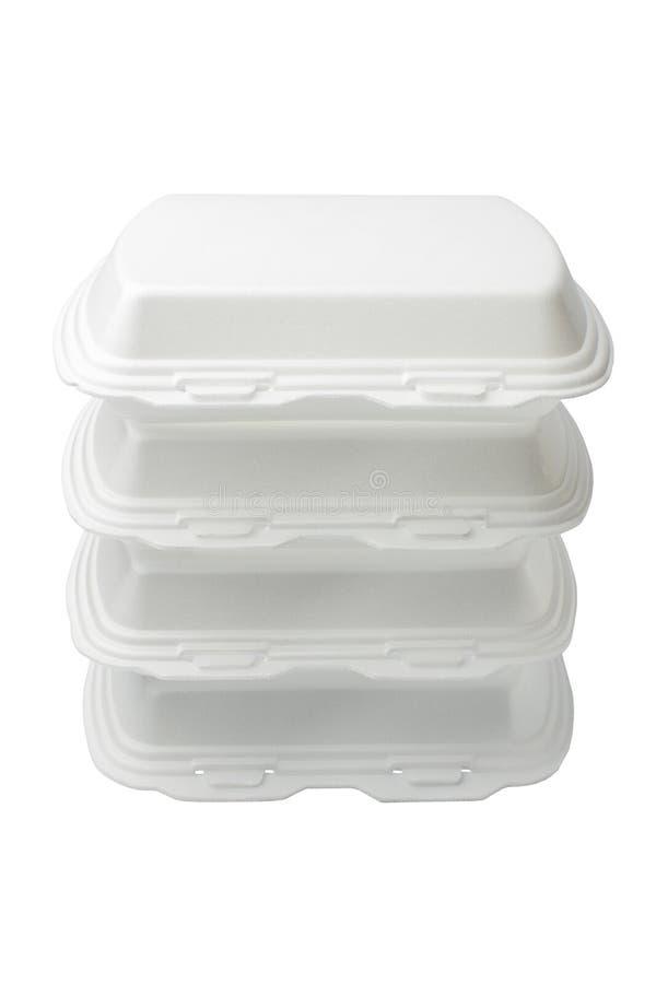 Le récipient augmenté de polystyrène est ouvert pour des produits alimentaires photos stock