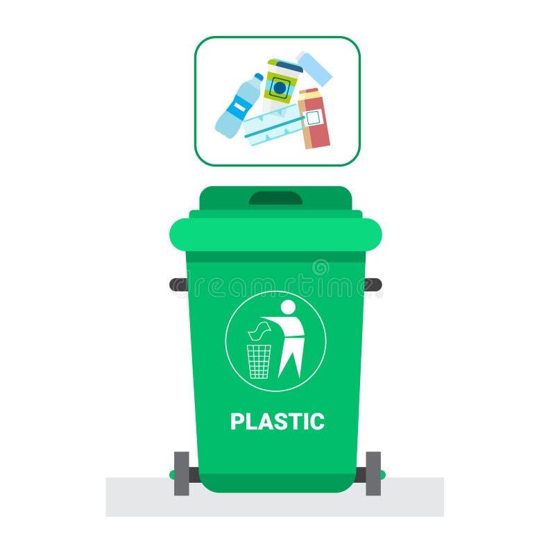 Le récipient de déchets pour l'icône de déchets de plastique réutilisent assortir le logo de concept de déchets illustration de vecteur