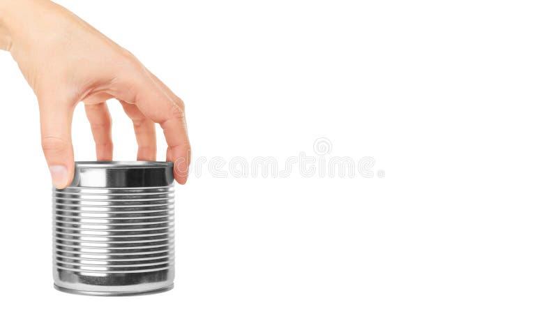 Le récipient en aluminium peut à disposition D'isolement sur le fond blanc copiez l'espace, calibre photo libre de droits