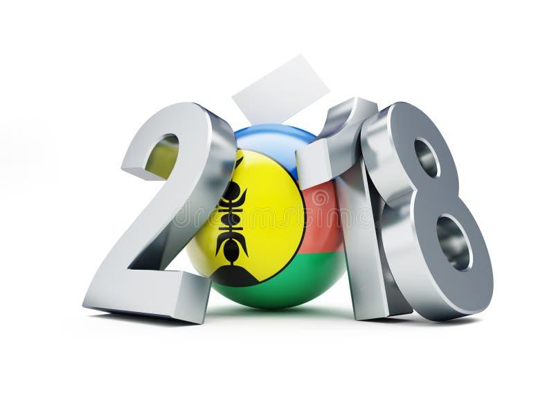 Le référendum sur l'indépendance de la Nouvelle-Calédonie 2018 sur une illustration blanche du fond 3D, rendu 3D illustration stock