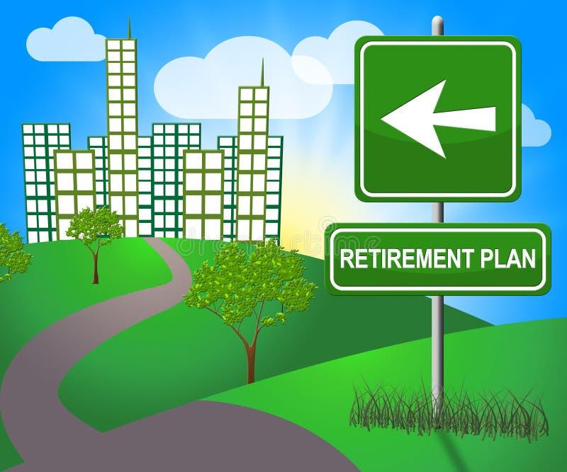 Le régime de retraite signifie l'illustration de la pension de vieillesse 3d illustration stock