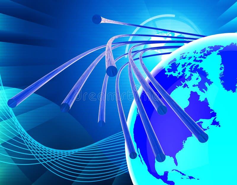 Le réseau de fibre optique signifie le World Wide Web et la communication illustration libre de droits