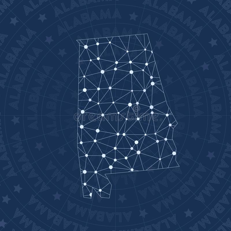 Le réseau de l'Alabama, constellation nous dénomment carte d'état illustration stock