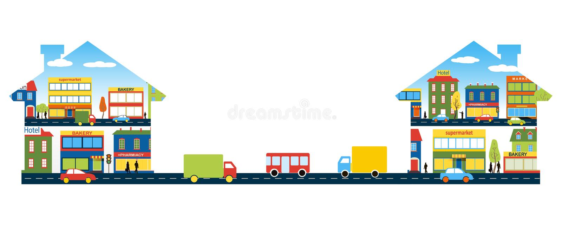 Le réseau de transport routier entre deux petites villes illustration libre de droits