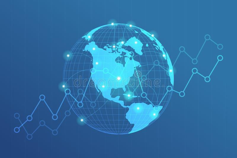 Le réseau global raye la connexion Point de carte du monde avec le concept de connexion de points du fond d'affaires globales illustration stock