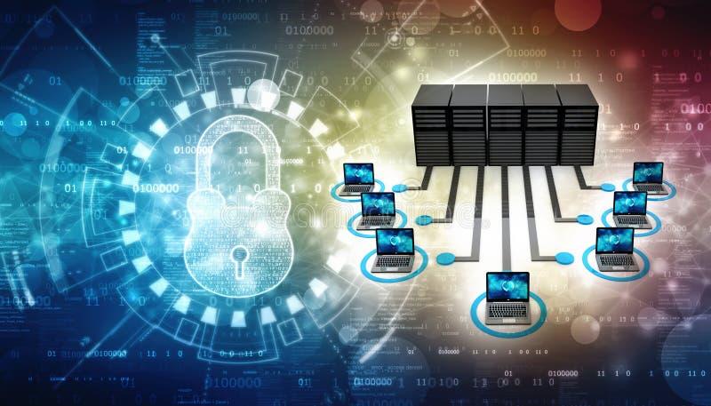 Le réseau informatique, ordinateur s'est relié au serveur 3d rendent image stock