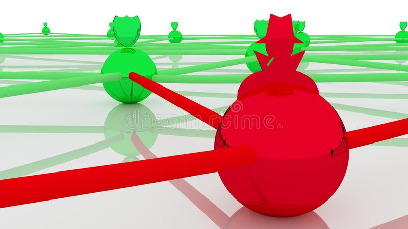 Le réseau sûr rougeoyant avec un a entaillé le concep de cybersecurity de noeud illustration de vecteur