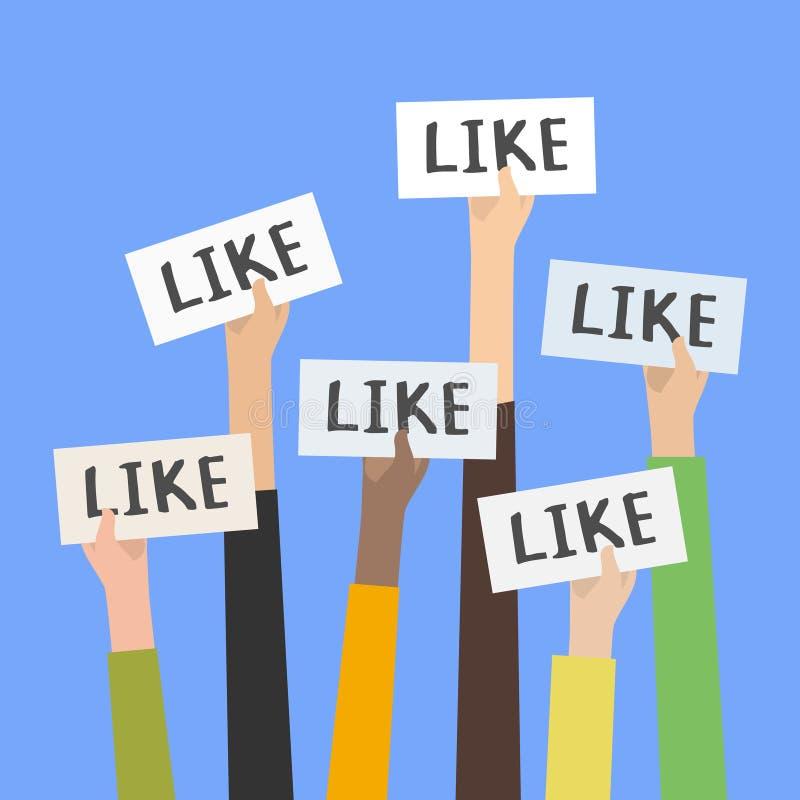 Le réseau social aime, approbation, concept de feedback de la clientèle illustration de vecteur