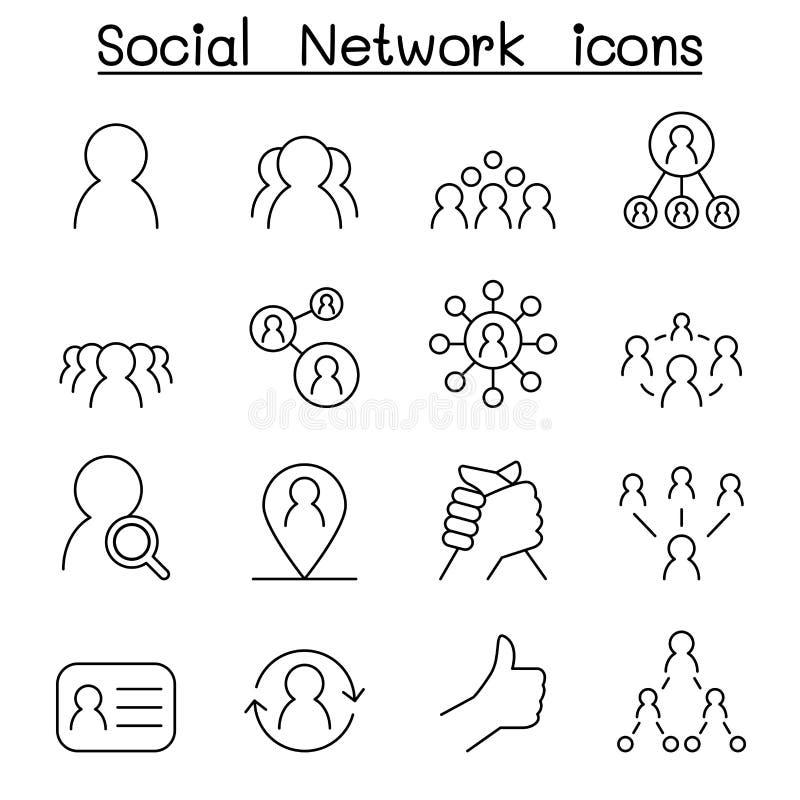 Le réseau social et l'icône sociale de media ont placé dans la ligne style mince illustration libre de droits