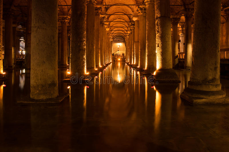 Le réservoir de basilique dans Instanbul images libres de droits