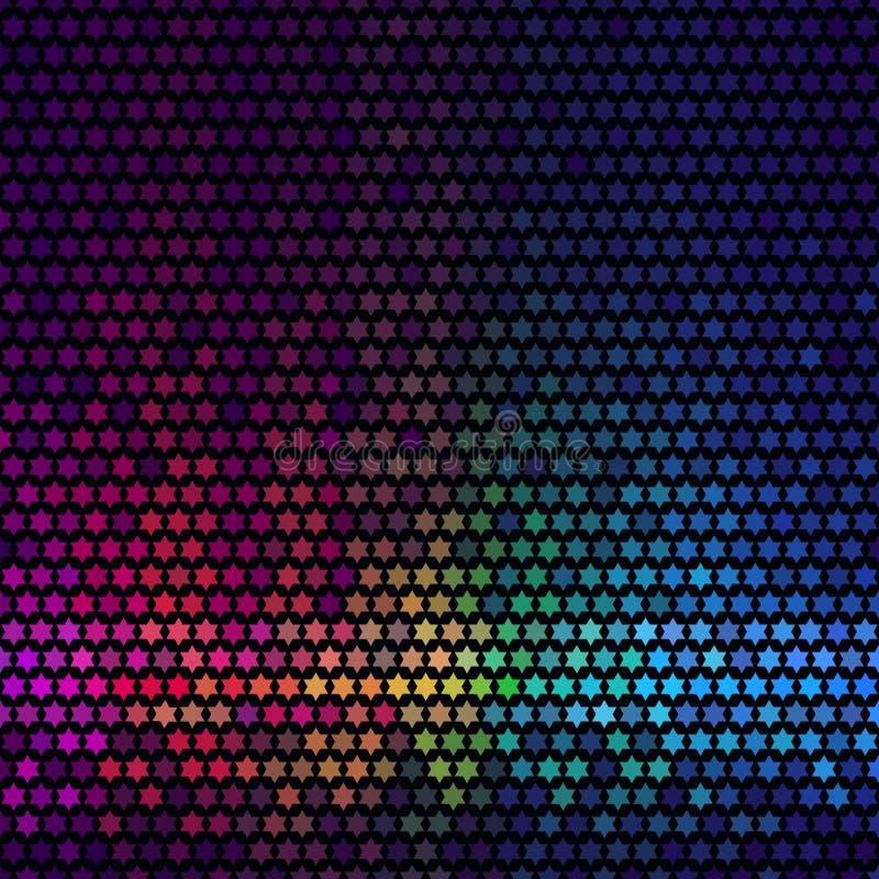Le résumé allume le fond de disco Mosaïque multicolore de pixel d'étoile illustration stock