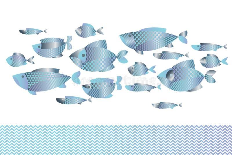 Le résumé a assorti le modèle bleu de poissons argentés pour la carte illustration stock