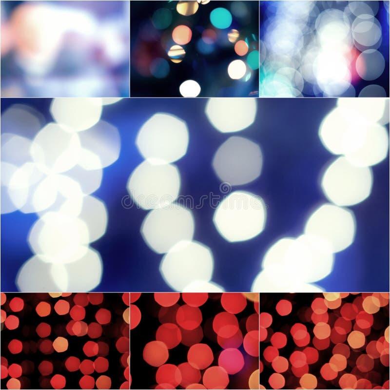 Le résumé a brouillé le fond éclatant bleu et rouge de lumières d'ampoules d'éclat Tache floue des décorations de papier peint de images libres de droits