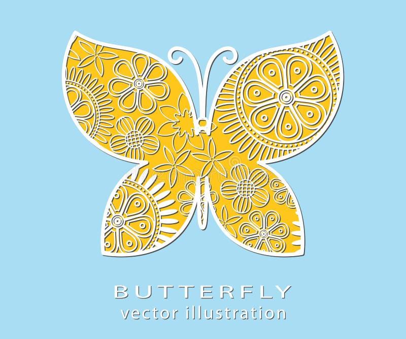 Le résumé a coupé les fleurs composées par papillon avec l'ombre courte illustration stock