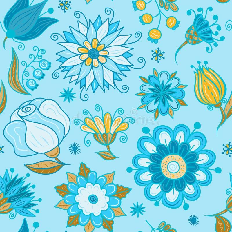 Le résumé fleurit le bleu sans couture de modèle illustration de vecteur
