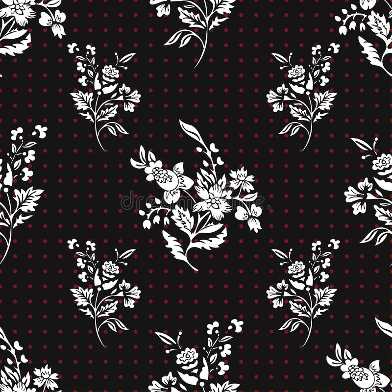 Le résumé fleurit le modèle sans couture, fond floral de vecteur Blanc d'imagination sur le point de polka noir et rouge Pour la  illustration de vecteur