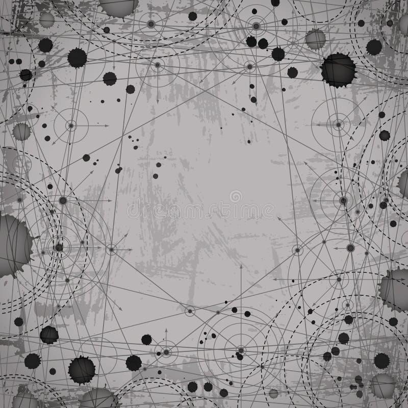 Le résumé géométrique monochromatique a pointillé le dessin, RP d'architecture illustration de vecteur