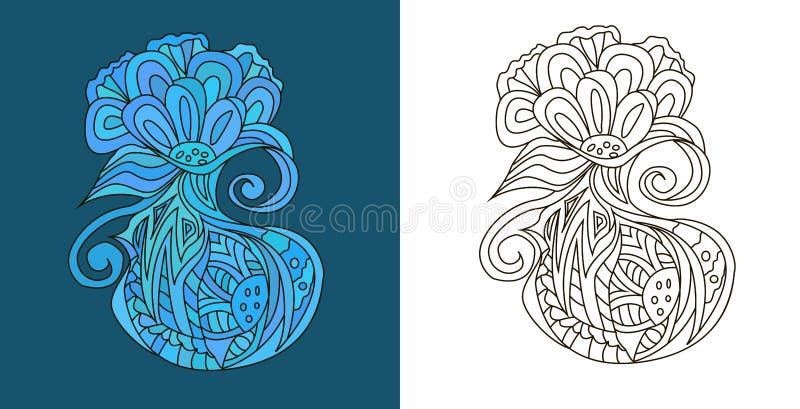 Le résumé gribouille (des embrouillements de zen) sous la forme étrange de fleur - dirigez l'illustration image stock