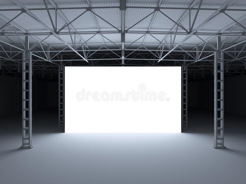 Le résumé a illuminé l'étape blanche à l'intérieur de l'illustration de l'entrepôt 3d illustration libre de droits