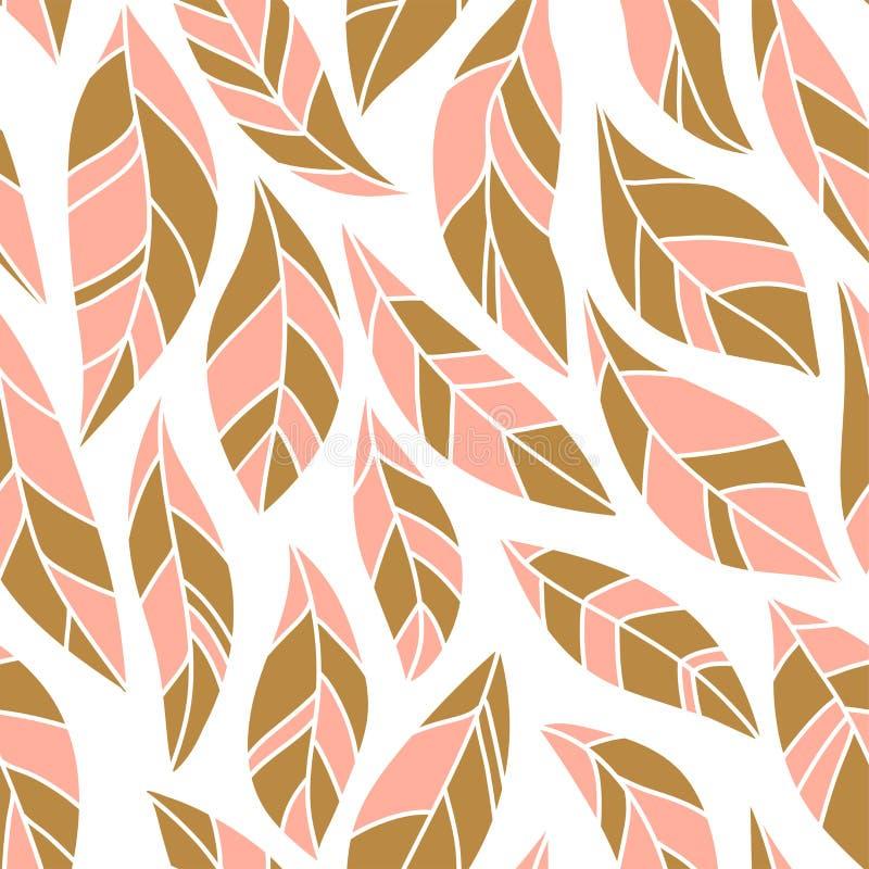 Le résumé mignon part dans des couleurs de rose et d'or sur le fond blanc Modèle sans couture simple de vecteur illustration stock