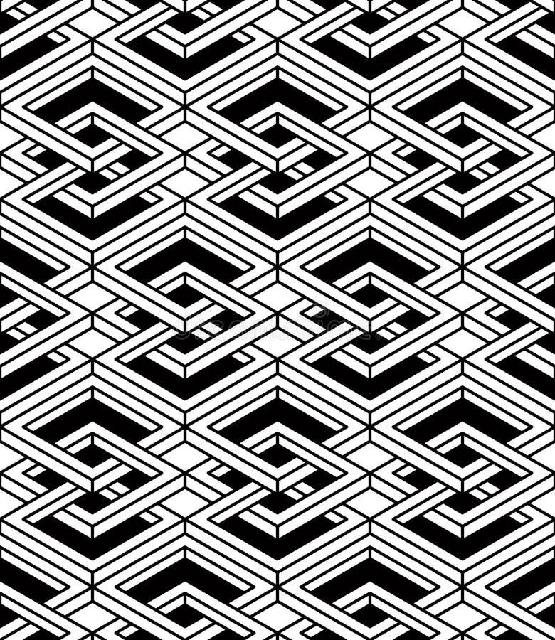 Le résumé monochrome entrelacent le modèle sans couture géométrique Vecto illustration de vecteur