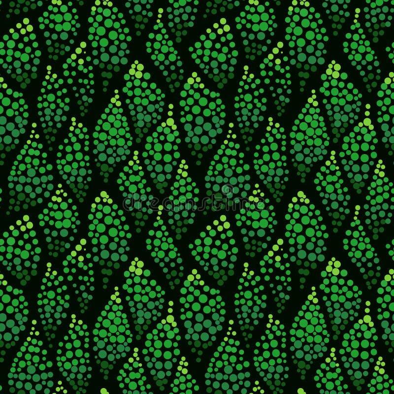 Le résumé pointillé ondule le modèle sans couture Points verts illustration stock