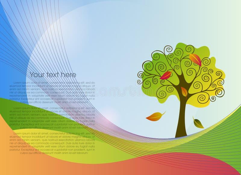 Le résumé raye le fond avec un arbre illustration stock