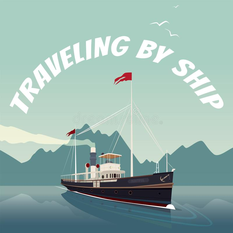 Le rétro bateau de croisière navigue sur la mer le temps clair illustration libre de droits