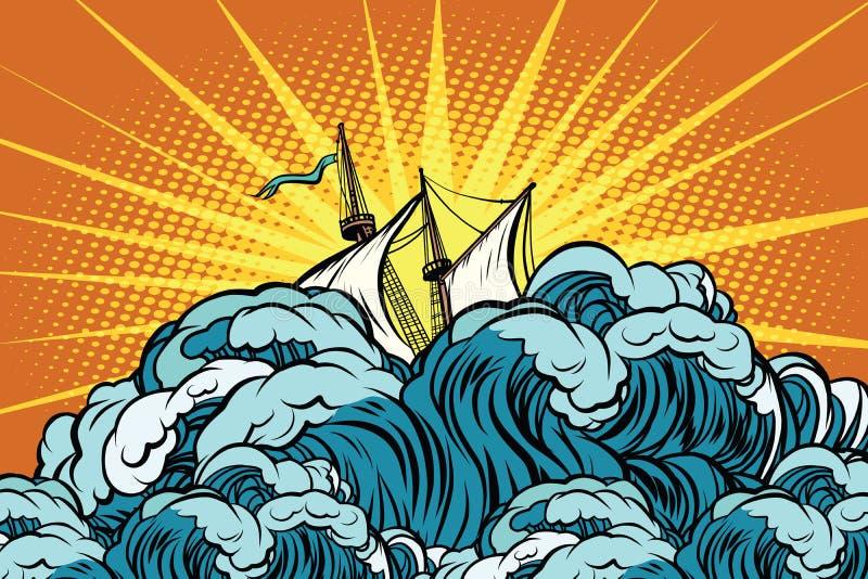 Le rétro bateau de navigation coule dans les vagues orageuses illustration de vecteur