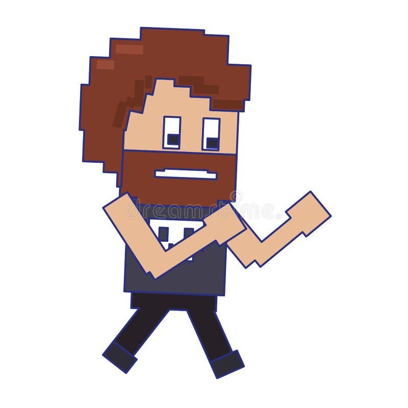 Le rétro caractère de gars dur de jeu vidéo pixelated les lignes bleues de bande dessinée illustration de vecteur