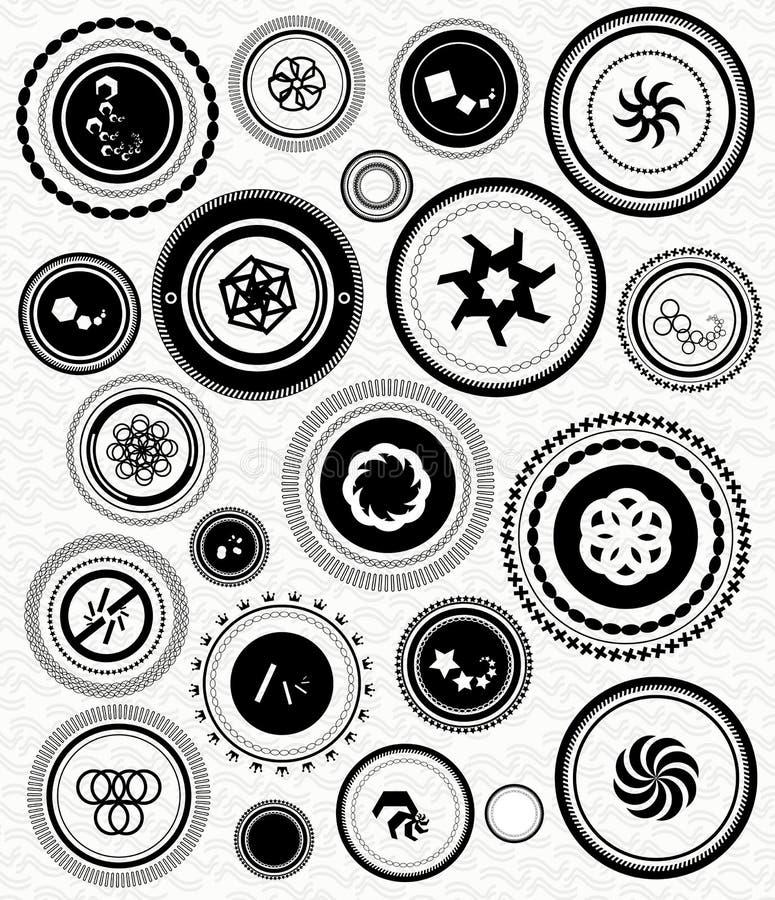 Le rétro cru noir estampe des formes abstraites illustration stock
