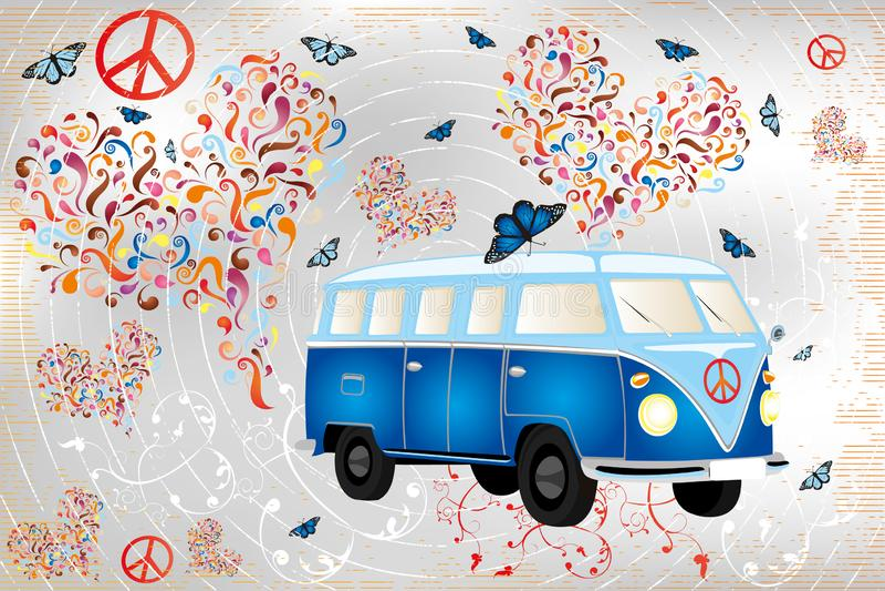 Le rétro fourgon coloré avec des papillons, coeurs a fait par des remous et des éléments floraux illustration libre de droits