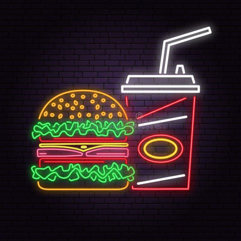 Le rétro hamburger au néon et le kola se connectent le fond de mur de briques Conception pour le café, restaurant illustration libre de droits