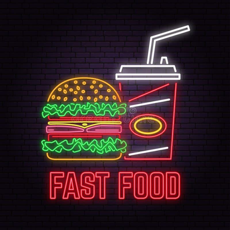 Le rétro hamburger au néon et le kola se connectent le fond de mur de briques Conception pour le café, restaurant illustration de vecteur