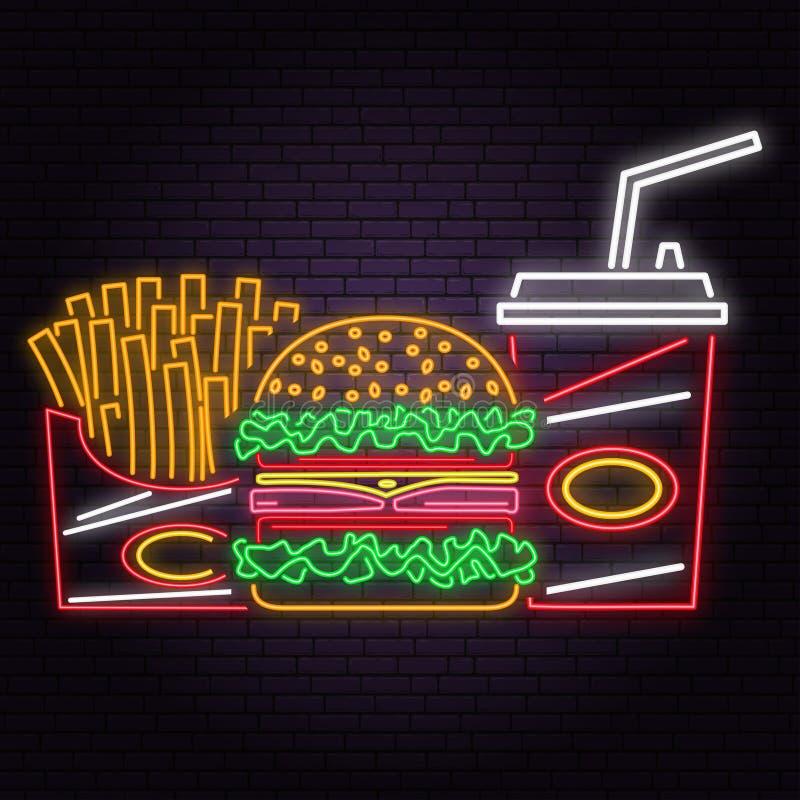 Le rétro hamburger au néon, le kola et les pommes frites se connectent le fond de mur de briques Vecteur illustration de vecteur