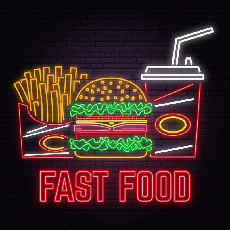 Le rétro hamburger au néon, le kola et les pommes frites se connectent le fond de mur de briques Vecteur illustration stock