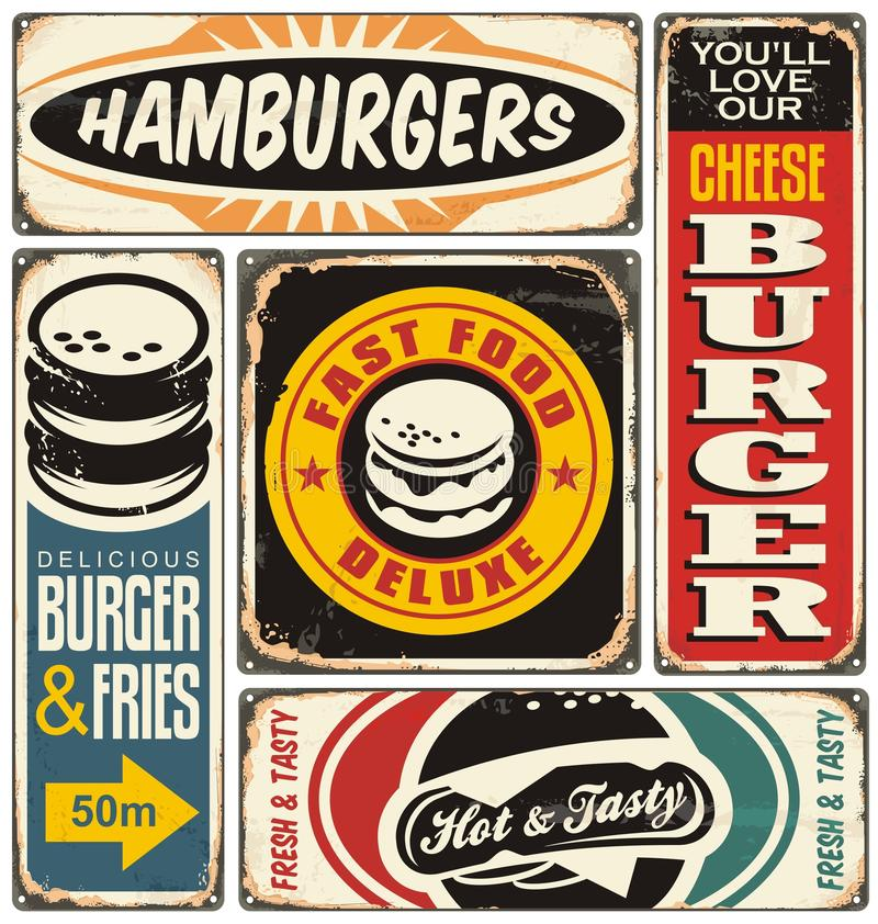 Le rétro hamburger signe la collection illustration stock