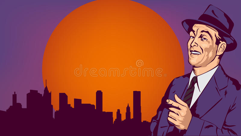 Le rétro homme ont l'amusement et dirigent le doigt, sur le paysage urbain, photo de vecteur illustration libre de droits