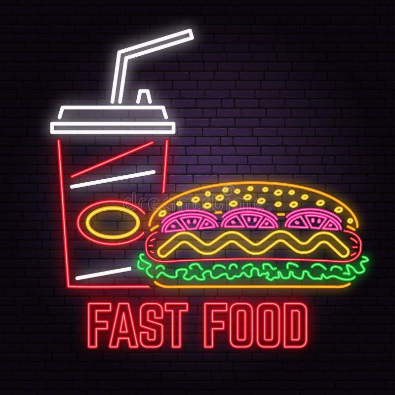 Le rétro hot-dog au néon et le kola se connectent le fond de mur de briques Conception pour le café, restaurant illustration libre de droits