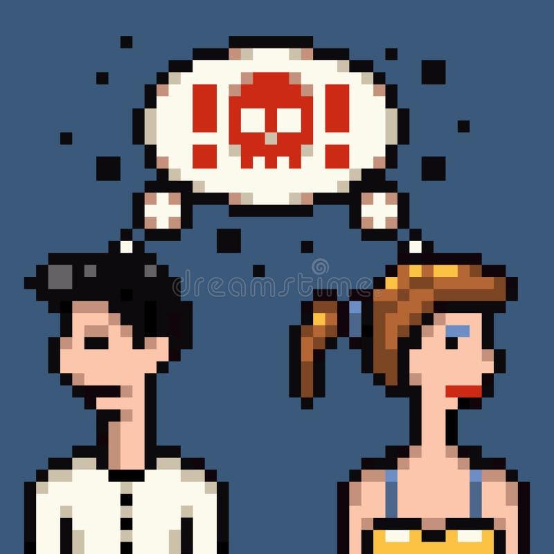 Le rétro mariage de pixel discutent illustration stock