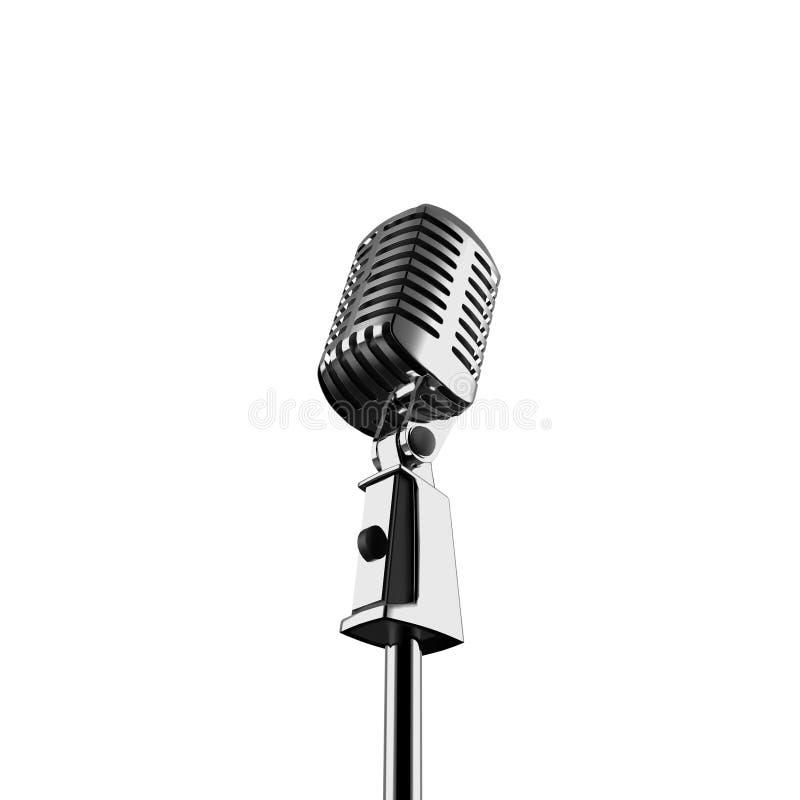 Le rétro microphone 3d d'isolement rendent images libres de droits
