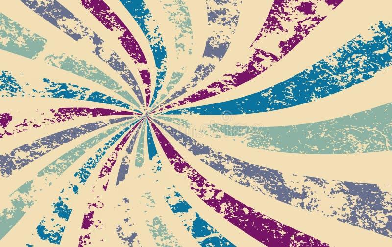 Le rétro modèle de vecteur de fond de starburst ou de rayon de soleil avec un vintage a affligé le textur illustration libre de droits