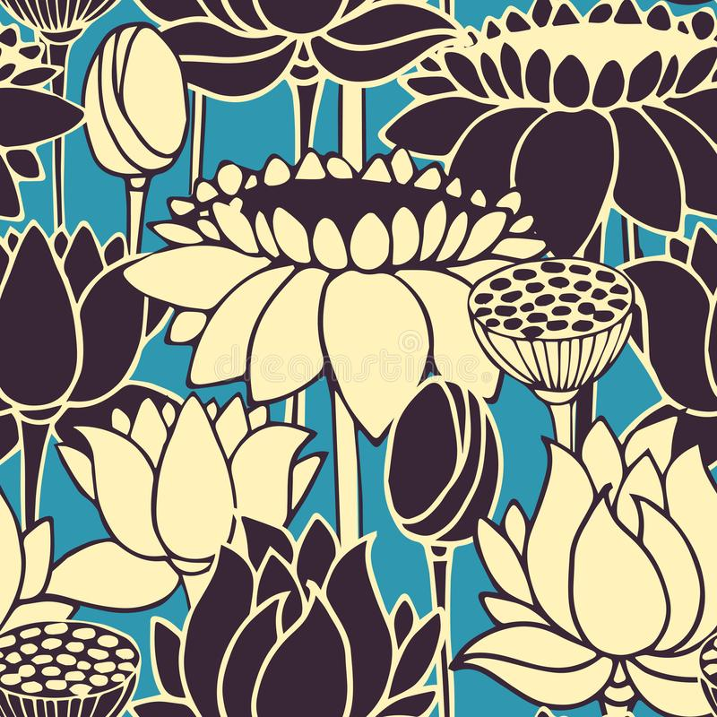 Le rétro modèle de vecteur sans couture avec des lotos tirés par la main fleurit conception pour empaqueter, textile, intérieur illustration stock