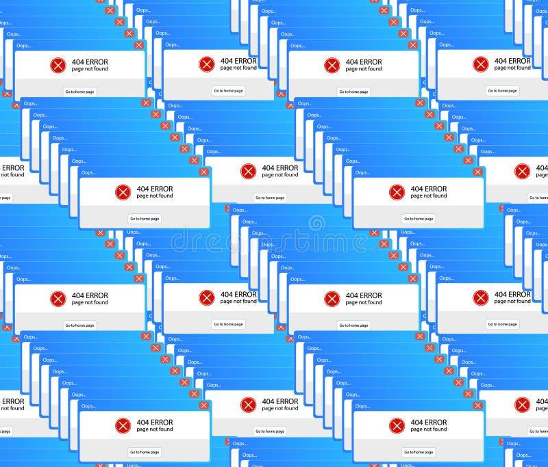 Le r?tro ordinateur de vecteur ralentit le mod?le sans couture, calibre color? de fond, message d'erreur 404 illustration libre de droits